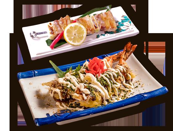串焼き、海老天 忍寿司